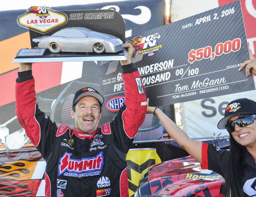 Greg Anderson won a cool $50G in the K&N Filters HP Challenge for Pro Stock cars at Las Vegas