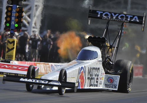 Defending World Champion Anton Brown scored in Top Fuel