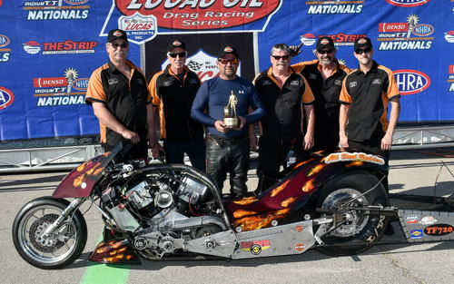 Alberta's Craig Pelrine - scored in the event's Top Fuel Harley division.