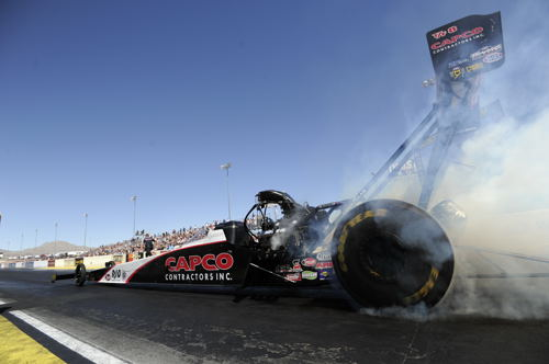 Texan Steve Torrence set low ET at 3.728 secs while qualifying #1 in Top Fuel