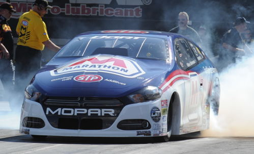"Allen Johnson had his best finish of the season so far in Pro Stock - taking the Marathon-sponosred Dodge Dart  to the ""final four""."