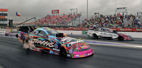 Houston's Fuel FC final saw Courtney Force (near lane) defeat point leader Tim Wilkerson