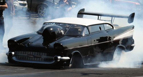 Even more cool cars to come! Check out this wild new winged '57 Chevy which made some initial check out runs!