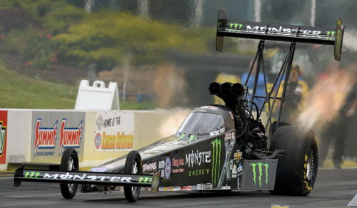 TF points leader Brittney Force reset NHRA's national ET record to 3.676 secs.