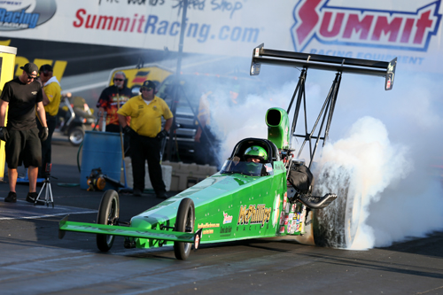 Racing his injected nitro car - Rich McPhillips won his 5th career NHRA national event title