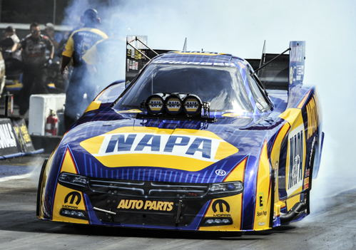 Ron Capps set low ET for Funny Car with a track record 3.884 secs during qualifying.