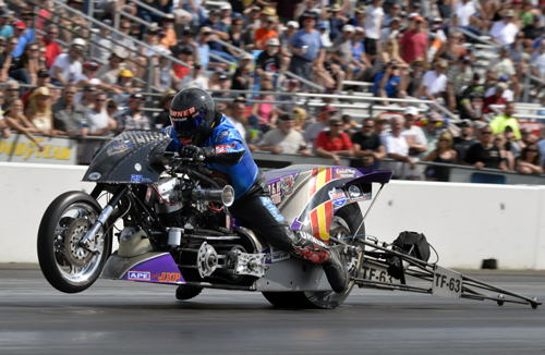 Jay Turner won the event's added attraction Top Fuel Harley title.