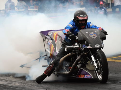 North Carolina's Jay Turner won in Top Fuel Motorcycle and set top speed at 219.08 mph.