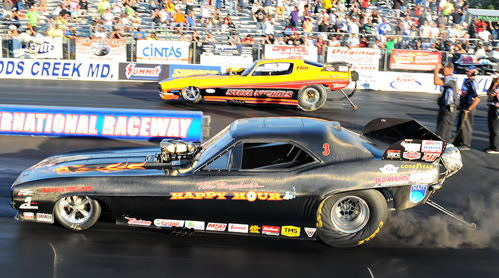 Tim Boychuk out drove his opponent Mike McIntyre to win the IHRA President's Cup Funny Car title.