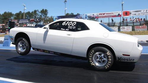 Peter Ash brought his cool Challenger DragPak over from Victoria to race in Stock. He qualified mid-pack at .70-under, and lost in Round 2.