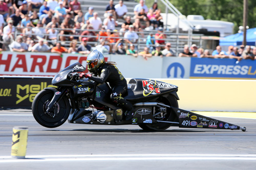 Angelle Sampey earned an emotional win in Pro Stock Motorcycle