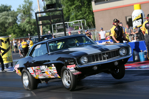 """The Camaro """"All Blacks"""" prevailed in Stock and Super Stock with win by Joe Santangelo (top) and Rick Baehr."""