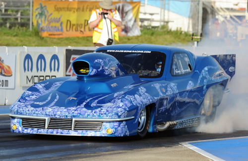 Alberta's own Gary Urlacher paced the Pro Mod program which has had it's eliminations deferred to Sept.