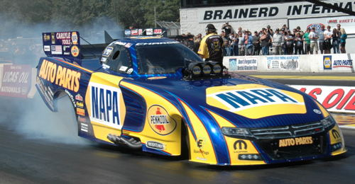During qualifying at BIR, NHRA points leader Ron Capps claimed the rain delayed NHRA Northwest Nationals trophy (from Seattle) It was Ron's milestone 50th career win!