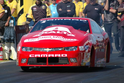 Drew Skillman raced his Chevy Camaro to victory in Pro Stock.
