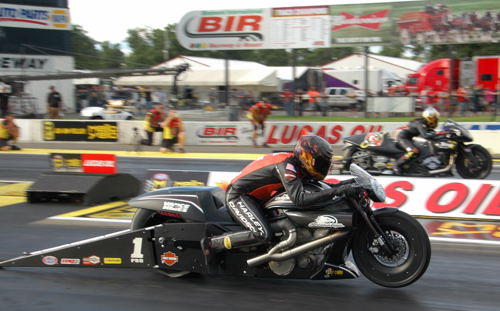 Andrew Hines collected career win #46 in Pro Stock Motorcycle