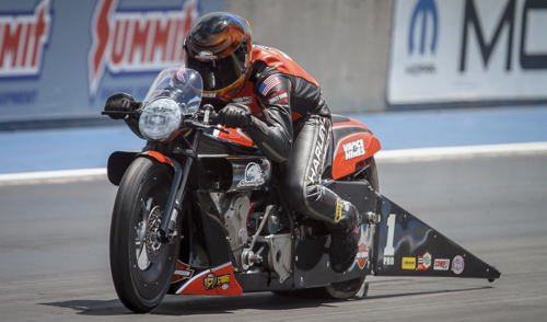 Andrew Hines won for a record setting 45th time in Pro Stock Motorcycle