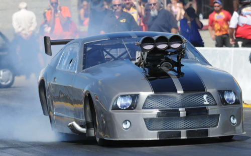 Al Martorino was credited with the fastest Pro Mod run in the USDRS event - hitting 243.96 mph with his potent Mustang.