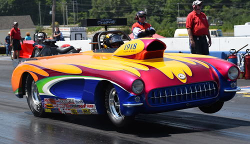 "Racing this great looking '57 Corvette Super Gasser, New Brunswick's Dwight Cummings (Bloomfield, N.B.) won the added attraction Super Gas Fast 8 feature which was part of the NHRA Northeast Lucas Oil Divisional ""Night of Fire"" event race held at Epping NH. Cummings ran a final round 9.913 secs at 154.02 to defeat his opponent Rich Price who broke out. (Photo By David Smith)"
