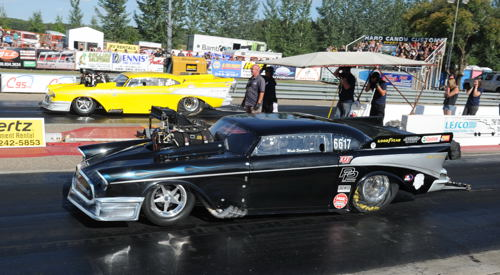 Long time Western Canadian Pro Mod racer Wade Sjostrom wheeled his 57 Chevy to the Pro Mod title!