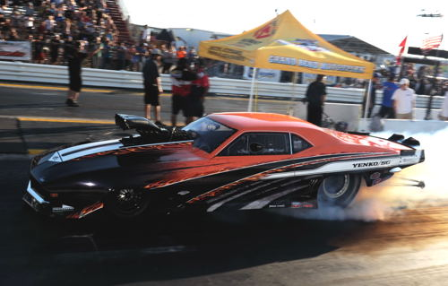 Driving Jay Santos' car - talented racer Mike Stawicki won the deferred Cayuga event title on Friday.