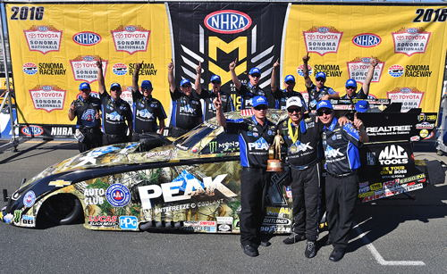 A suddenly surging John Force defeated Ron Capps in the Funny Car final at Sonoma - to earn his second win in 7 days in NHRA racing