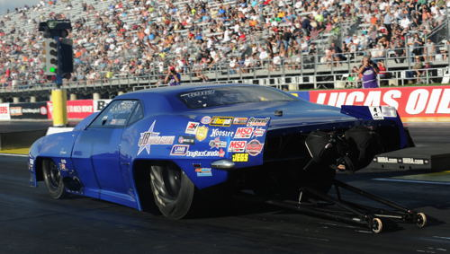 Edmonton's Jim Bell once again give the NHRA Pro Mod eliminator a go with his turbocharged Camaro - but his best run of 5.984 secs missed the record quick 16-car field.