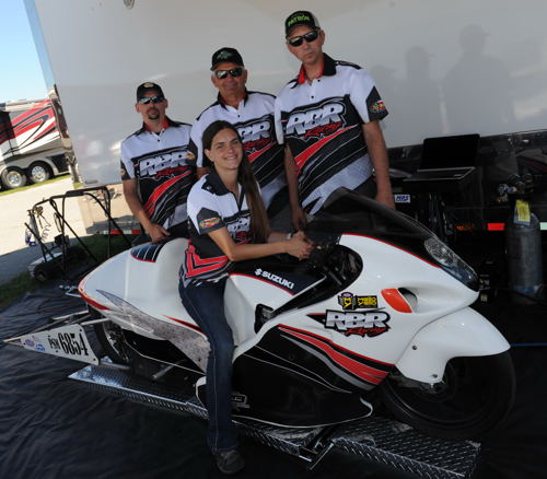 One of the bigger stories at Indy was the first time entry of a Canadian Pro Stock Motorcycle - driven by Kristen Ashby (from Medicine Hat AB). (DragRaceCanada will have a feature on this team - coming soon!)
