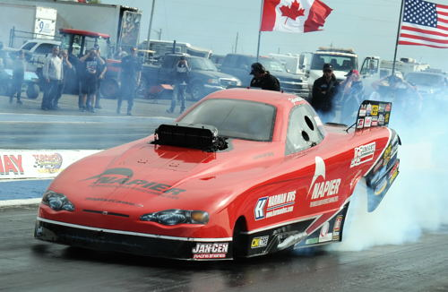 Kudos go out to Exeter Ontario's Tyler Scott and the entire Kardiac Kids TAFC team who for the second year in a row have won the NDRA's season championship prize. Tyler and car owner Larry Dobbs clinched that honour last weekend during Cayuga's Canadian Funny Car Championships event. Congrats go out too to Tyler and his wife on the birth of their new baby boy -