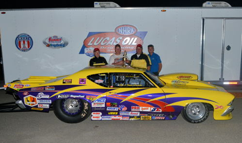 Thunder Bay Ontario's Rob Meservier scored a major win at the NHRA LODRS regional level when he won at Earlville Iowa last weekend. Rob's super cool NOS-injected Chevelle was the only Canadian car entered in that event's 34-car field in Top Sportsman. He qualified #20 and then half off Jim White in the final to claim his first win at the NHRA divisional race level.