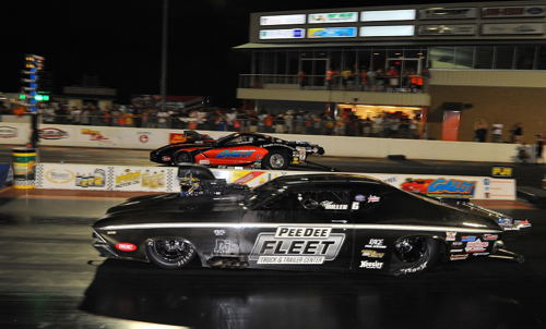 Kevin Rivenbark's C7 (far lane) topped Tylor Miller's Chevelle in the Pro Boost championship round.