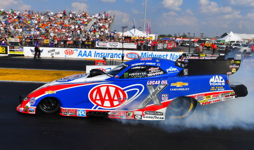 Robert Hight set both low ET and top speed at St. Louis in fuel FC @ 3.893 secs and 328.38 mph.