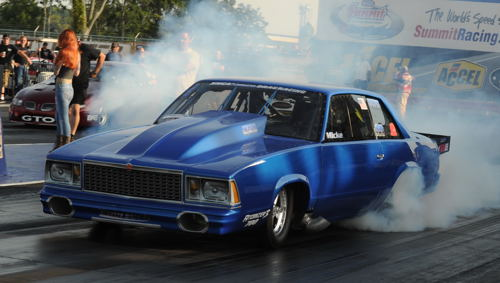 Mark Micke piloted Jason Carter's spectcular turbocharged '78 Malibu to victory in Outlaw Limited Street.