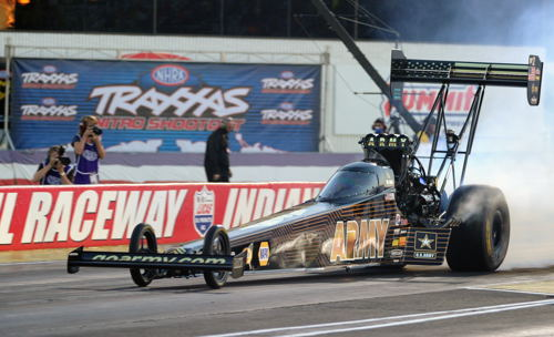 Tony Schumacher won his 2nd career Traxxas Top Fuel Shootout event at Indy on Saturday.