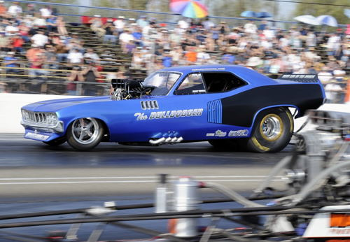 "Drayton Valley Alberta's Jim Fersch was once again a popular participant in the 7.0 Pro class with his ""The Bulldogger"" Barracuda Funny Car"