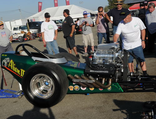 Ontario-based race car chassis builder John Chandler participated in the event's pit side cacklefest activities with his Alien 2 dragster.