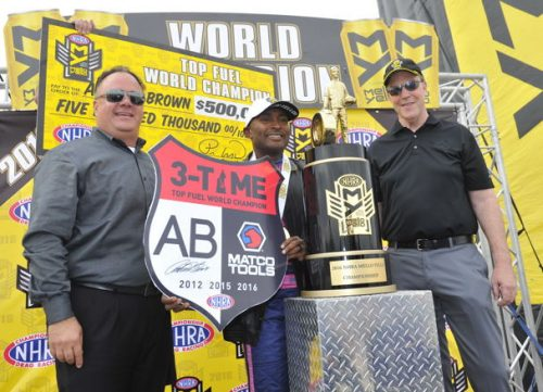 Antron Brown clinched his 3rd career NHRA Top Fuel World Championship at Las Vegas - yesterday.