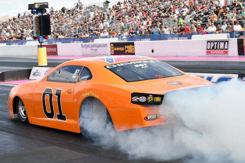 "Bo Butner entered this cool ""Dukes of Hazard"" themed Chevy Camaro in Pro Stock"