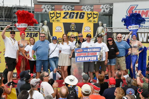 Jimmy DeFrank celebrates his NHRA Super Stock Lucas Oil Drag Racing Series World Championship