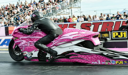 Jerry Savoie won from the pole in Pro Stock Motorcycle