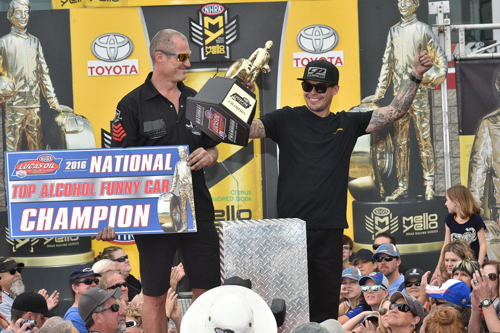 With his 2nd round finish -- Sweden's Jonnie Lindberg clinched his 2nd consecutive NHRA Lucas Oil World Championship for TAFC class racing.