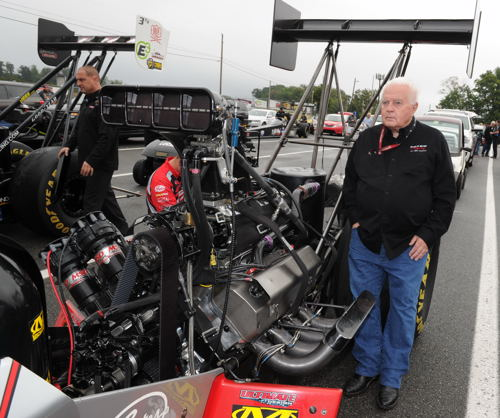 "That's Canadian iron ""The Captain"" Barry Paton at the ready in the staging lanes with his Top Fuel dragster"