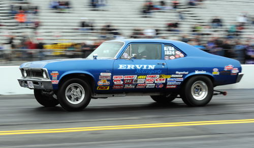 Trevor Irvin makes a qualifying lap in Stock eliminator driving his B/SA '70 Nova from Nova Scotia.