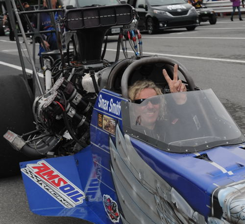 Popular Canadian based racer Smax Smith (Ayr On) entered the event racing Bob Leverich's Michigan-based Top Fuel car.