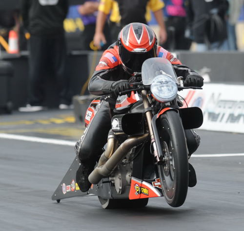 Eddie Krawiec sped to his 35th career win in Pro Stock Motorcycle racing.