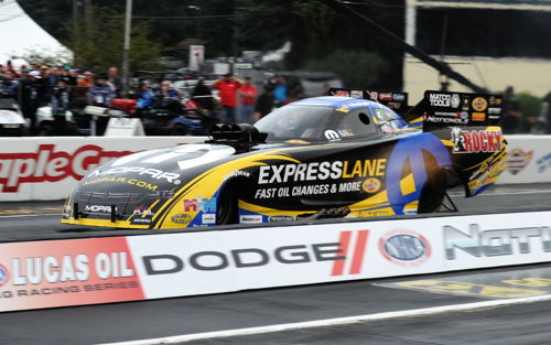 "The event featured included strong performance by DSR ""Team Mopar"" racers Matt Hagan and Leah Pritchett who both earned pole qualifying positions. Matt Hagan, driving his Charger FC in fact also set top speed (overall for the event) at 333.99 mph!"