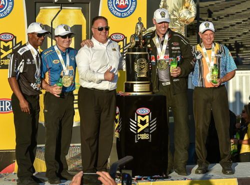 NHRA's 2016 World Champions are (from left to right) Antron Brown, Ron Capps, Jason Line and Jerry Savoie.