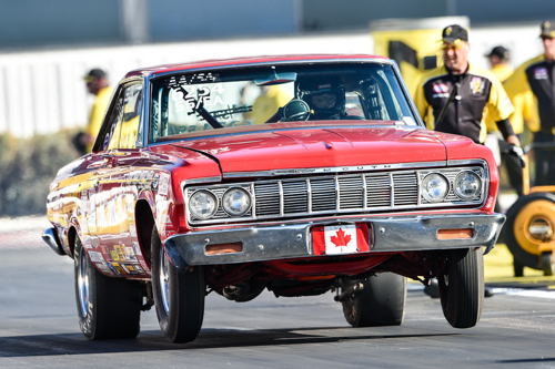 Darcy Clarke switched his normally Stock eliminator and very cool '64 Fury into Super Stock for the AAA Finals. The Spruce Grove AB based classic went to the 2nd round of eliminations.