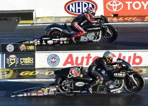 Matt Smith (near lane) made history with the first ever win for the Victory brand in Pro Stock Motorcycle class racing.