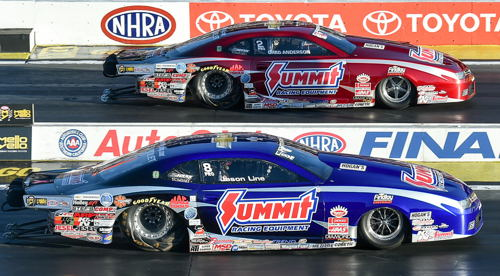 Greg Anderson (far lane) out ran his teammate Jason Line in the Pro Stock final round.